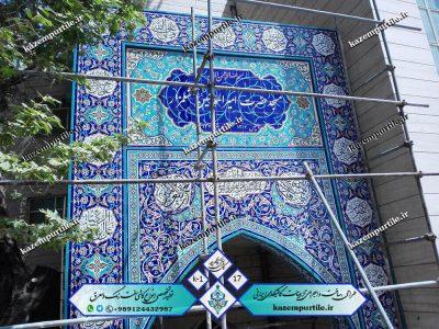 کاشی طرح چهارده معصوم سردر ورودی مسجد